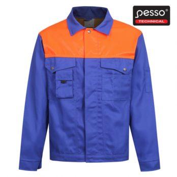 Darbo kostiumas: švarkas ir puskombenzonis Pesso, mėlynas su oranžinėmis detalėmis.