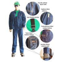 """Darbo kostiumas iš ypač stipraus džinsinio audinio """"Stoned wash"""" PESSO"""