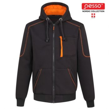 Šiltas džemperis su gobtuvu ir jaukiu Fleece pamušalu Pesso Portland, pilkas