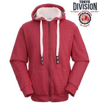 Šiltas džemperis su gobtuvu ir jaukiu sintetinio kailiuko pamušalu užsegamas užtrauktuku TOKYO DIVISION, raudonas